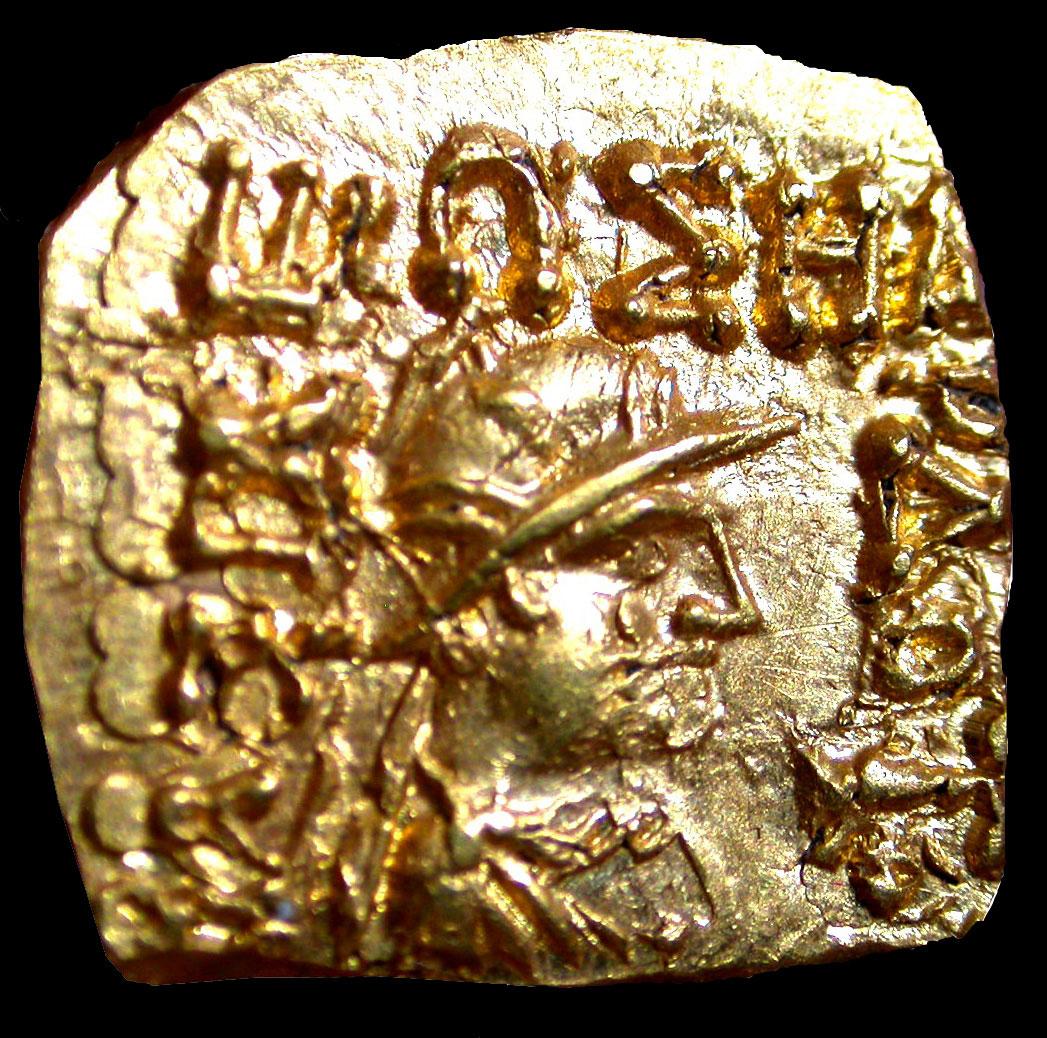 Χρυσό τετράγωνο νόμισμα με τον βασιλιά Ηλιόδοτο, περίπου 50 π.Χ. (φωτ. ΑΠΕ-ΜΠΕ / Osmund Bopearachchi).