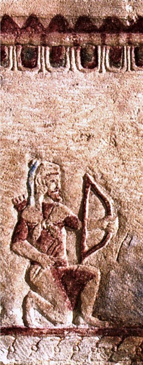 Λεπτομέρεια σκηνής πολιορκίας πόλεως από τον Ηρακλή. Σαρκοφάγος του πρώιμου 5ου αι. π.Χ. από την Παλαίπαφο.