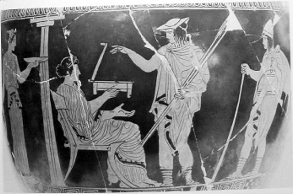 Εικ. 1. Αττική ερυθρόμορφη υδρία του 420 π.Χ. του «Ζωγράφου του Κάδμου», Plovdiv, Mus. Arch. De Duvanlij (LIMC IV 2, σ. 303, εικ. 70).