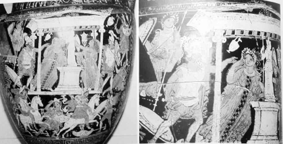 Εικ. 12. Ερυθρόμορφος ελικωτός κρατήρας του τέλους του 4ου π.Χ. αιώνα, Ζυρίχη, Galerie  Nefer  (LIMC IV 2, σ. 356, εικ. 361).