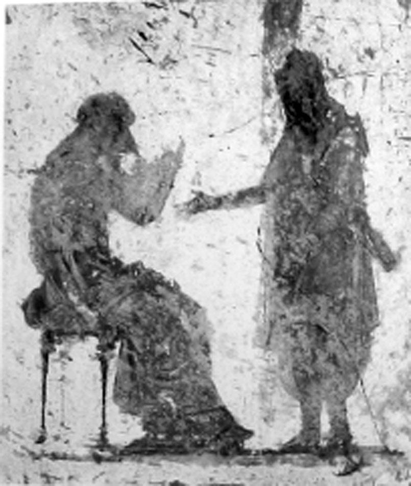 Εικ. 2. Τοιχογραφία χρονολογούμενη μεταξύ 10-20 μ.Χ., Νάπολη, Mus. Naz. 8982, De Stabies, Villa de Varano (LIMC IV 2, σ. 312, εικ. 106).