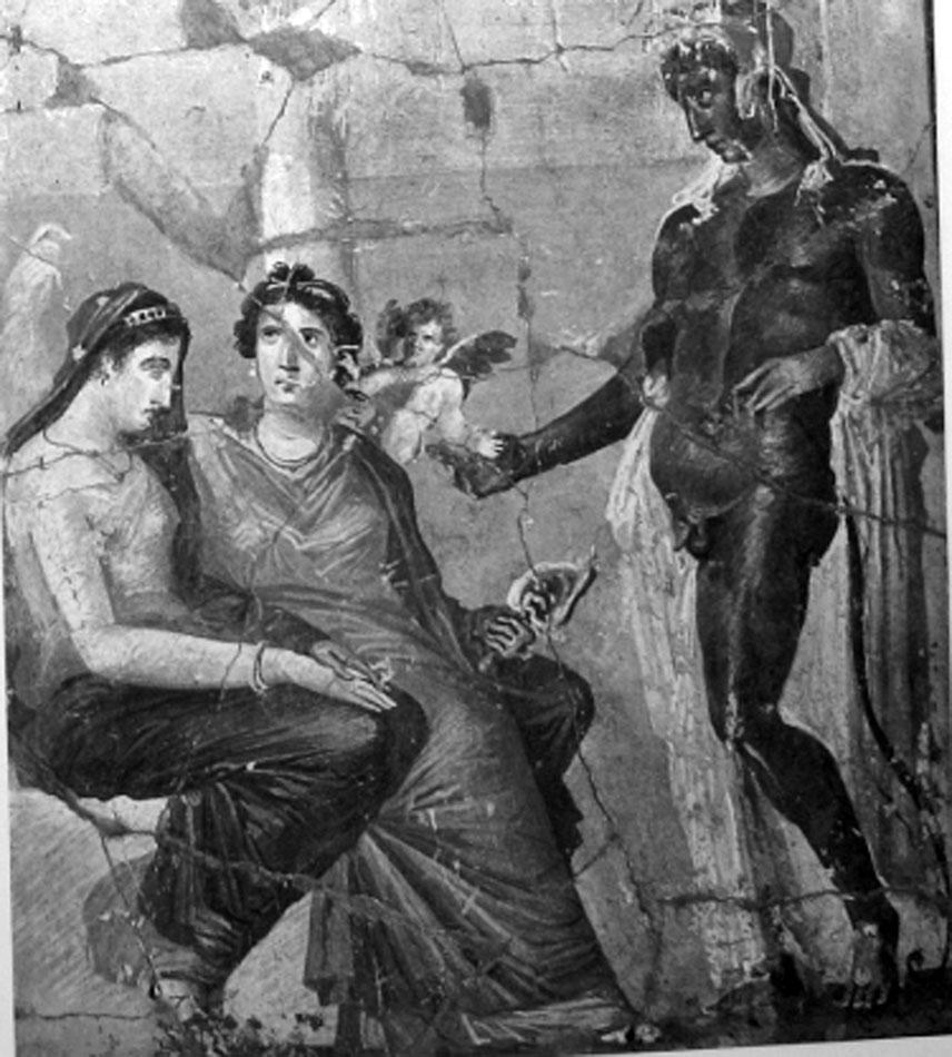Εικ. 3. Τοιχογραφία από την Πομπηία, «τρίτου στυλ», 35-45 μ.Χ., Πομπηία, Casa del Sacerdos Amandus, in situ (LIMC IV 2, σ. 317, εικ. 143).