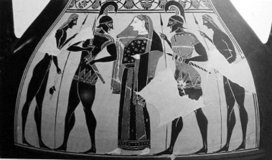 Εικ. 4. Αττικός μελανόμορφος αμφορέας του 550 π.Χ., του «Ζωγράφου του Αμάσιδος», Μόναχο, Antikenslg. 1383 (LIMC IV 2, σ. 320, εικ. 157).