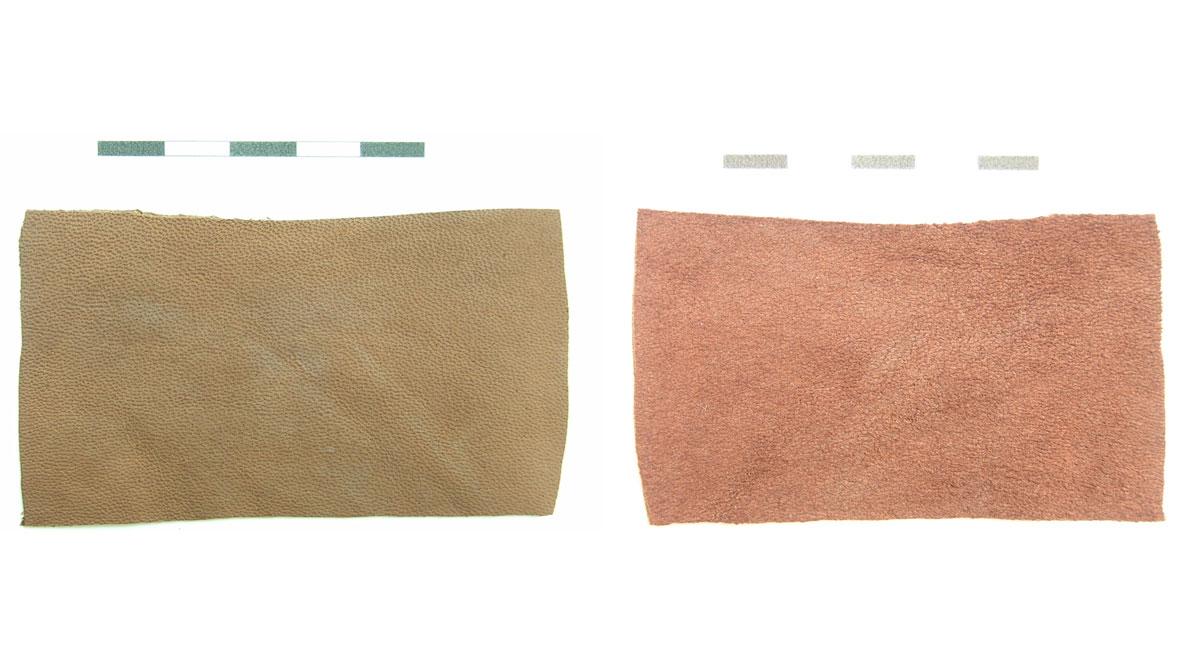 Εικ. 1. Τεμάχια άβαφου δέρματος αρνιού καφέ απόχρωσης (εξωτερική και εσωτερική πλευρά).