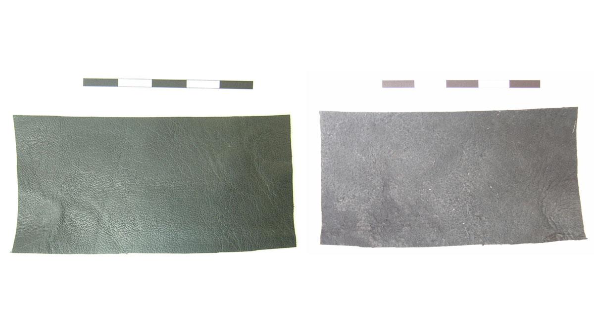 Εικ. 2. Τεμάχια άβαφου δέρματος προβάτου μαύρης απόχρωσης (εξωτερική και εσωτερική πλευρά).