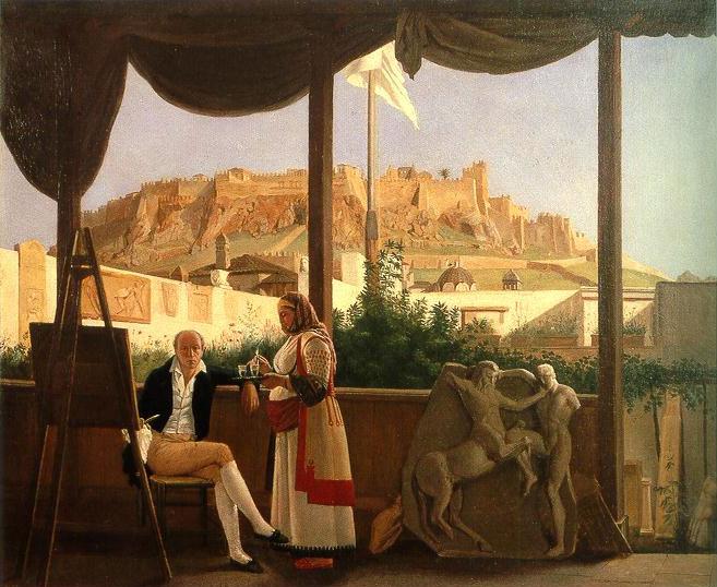 Έργου του Louis Dupré που απεικονίζει τον Γάλλο Πρόξενο Louis Fauvel να κάθεται σε μια βεράντα, με την Ακρόπολη στο βάθος.