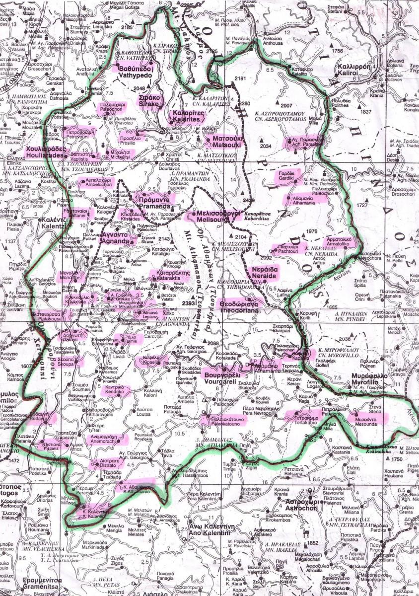 Εικ. 2. Πολιτικός χάρτης στον οποίο οριοθετείται συμβατικά η σύγχρονη περιοχή των Τζουμέρκων και επισημαίνονται οι 47 Τοπικές Κοινότητες που την αποτελούν. (Αρχείο της Ιστορικής και Λαογραφικής Εταιρείας Τζουμέρκων.)