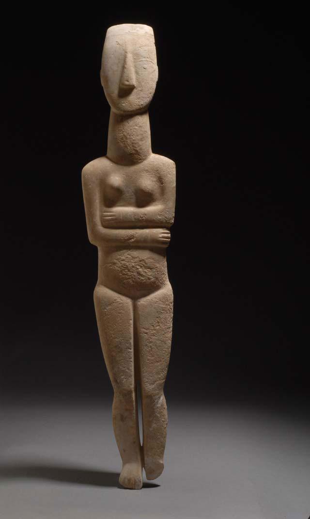 Μαρμάρινο κυκλαδικό ειδώλιο που απεικονίζει γυναικεία μορφή, 2800-2300 π.Χ. Εθνικό Αρχαιολογικό Μουσείο.