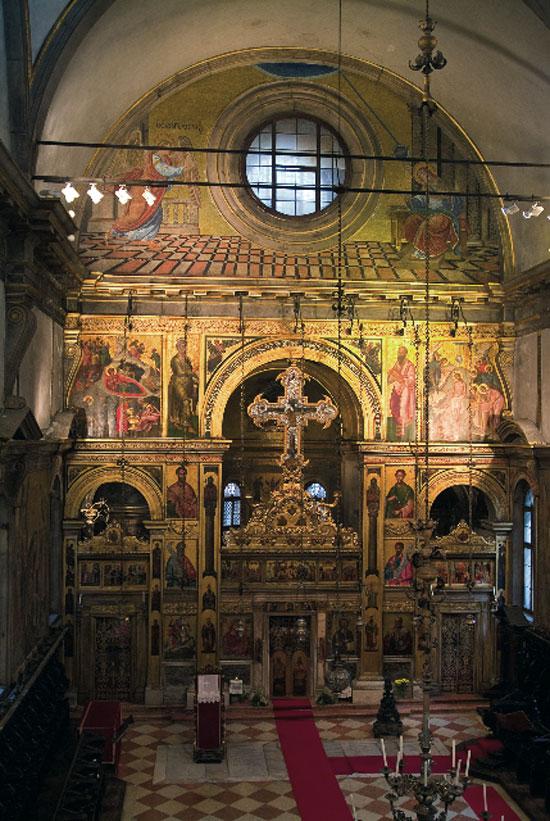 Εικ. 5. Το τέμπλο του ναού του Αγίου Γεωργίου (φωτ.: Ελληνικό Ινστιτούτο Βυζαντινών και Μεταβυζαντινών Σπουδών Βενετίας).