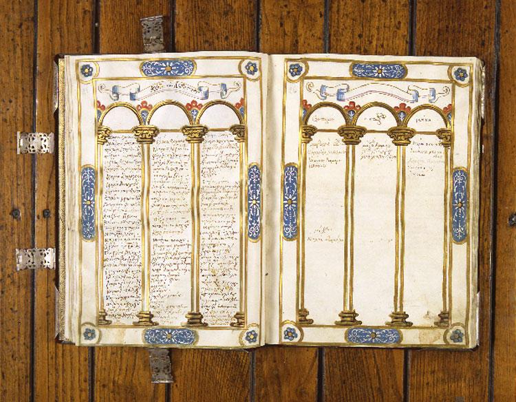Εικ. 8. Περγαμηνός κώδικας της «Πρόθεσης» ή «Παρρησίας» του ναού του Αγίου Γεωργίου, 1640 (φωτ.: Ελληνικό Ινστιτούτο Βυζαντινών και Μεταβυζαντινών Σπουδών Βενετίας).