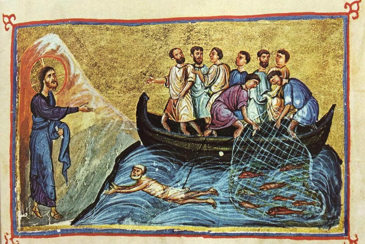Εικ. 10. «Εμφάνιση του Ιησού στους μαθητές στη θάλασσα της Τιβεριάδας» (μικρογραφία), Οι Θησαυροί του Αγίου Όρους», τόμος Α΄, σ. 219, εικ. 277.