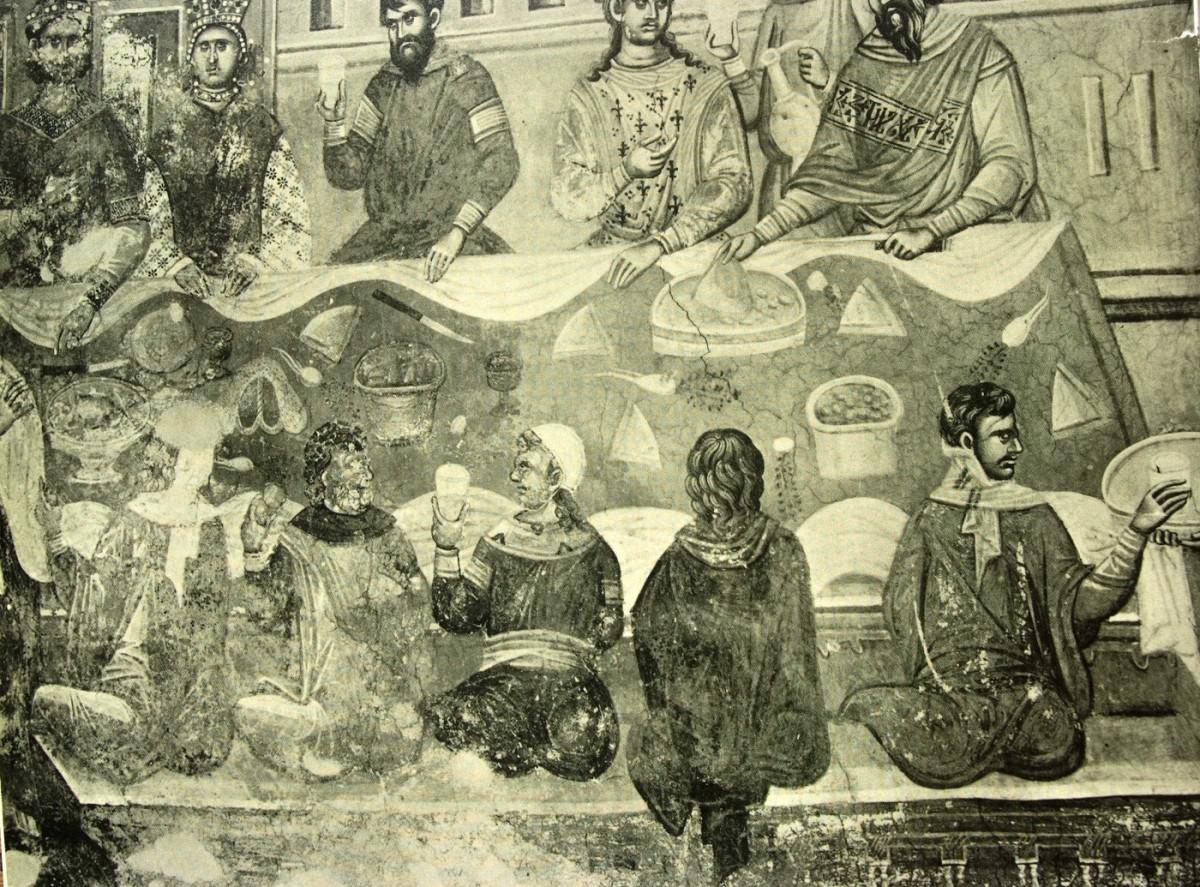 Εικ. 16. «Ο εν Κανά γάμος» (τοιχογραφία του 14ου αι. από την Gracanica), από το προσωπικό αρχείο Π. Δουρουκλάκη.