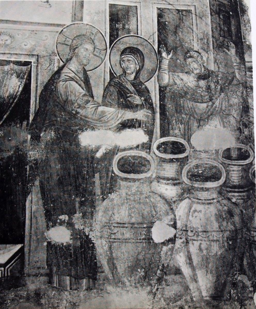 Εικ. 17. «Ο Χριστός ευλογεί τα πιθάρια με το νερό να γίνουν κρασί» (τοιχογραφία του 14ου αι. από την Gracanica), από το προσωπικό αρχείο Π. Δουρουκλάκη.