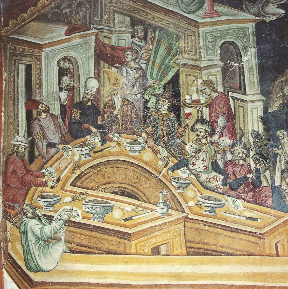 Εικ. 20. «Παράσταση της κλίμακας του Ιωάννη»: συμπόσιο πλουσίων (τοιχογραφία εξωνάρθηκα από την Ιερά Μεγίστη Μονή Βατοπαιδίου), «Ιερά Μεγίστη Μονή Βατοπαιδίου» (1996), τόμος Α΄, σ.  275.