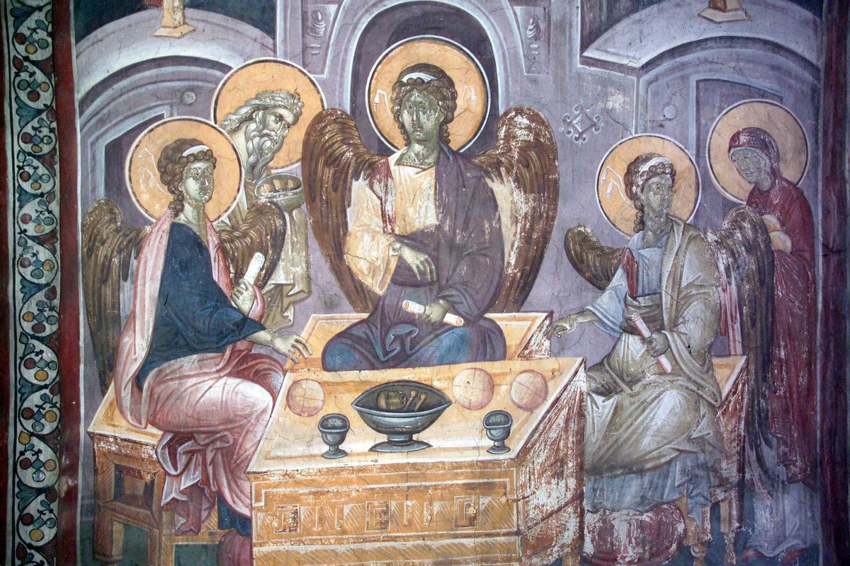 Εικ. 26. «Φιλοξενία του Αβραάμ» (τοιχογραφία του 14ου αι. από την Gracanica), από το προσωπικό αρχείο Π. Δουρουκλάκη.