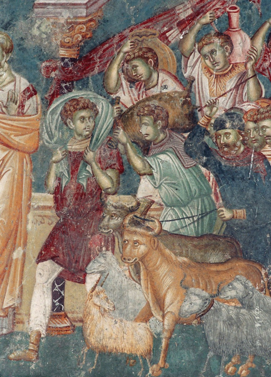 Εικ. 27. «Εκδίωξη εμπόρων από το ναό του Σολομώντα» (τοιχογραφία του 14ου αι. από τον Αγ. Νικήτα, Cucer, Σκόπια), από το προσωπικό αρχείο Π. Δουρουκλάκη.