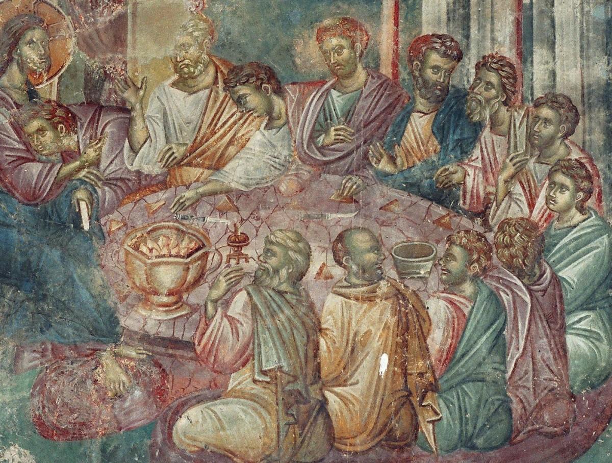 Εικ. 28. «Μυστικός Δείπνος» (τοιχογραφία του 14ου αι. από τον Αγ. Νικήτα, Cucer, Σκόπια), από το προσωπικό αρχείο Π. Δουρουκλάκη.
