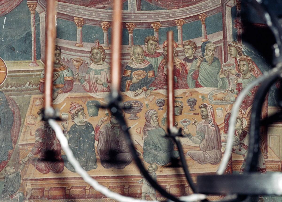 Εικ. 29. «Ο εν Κανά γάμος» (τοιχογραφία του 14ου αι. από τον Αγ. Νικήτα, Cucer, Σκόπια), από το προσωπικό αρχείο Π. Δουρουκλάκη.