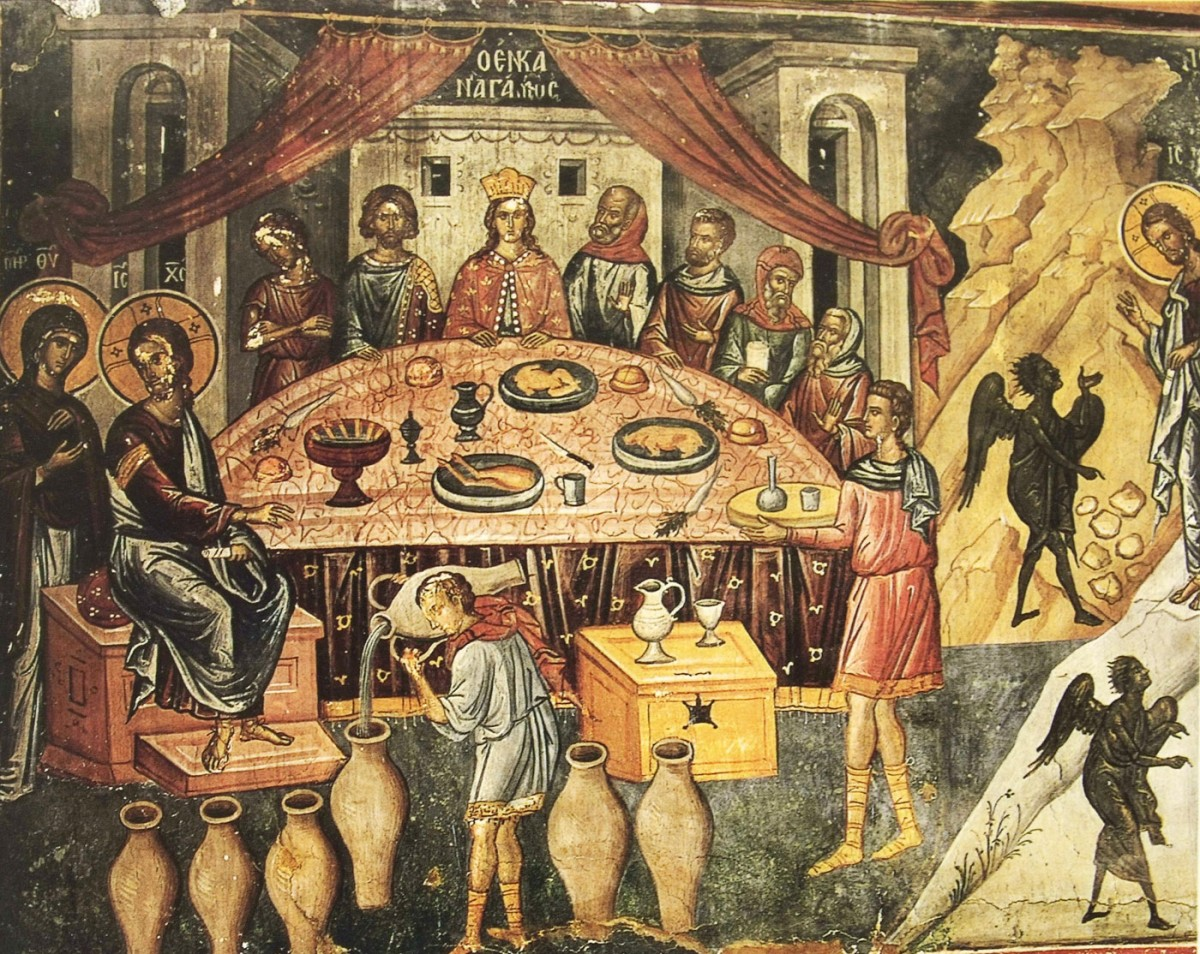 Εικ. 4. «Ο εν Κανά γάμος», (τοιχογραφία από την Ιερά Μονή Αγίου Νικολάου Αναπαυσά), Σοφιανός/Τσιγαρίδας (2003), σ. 251.