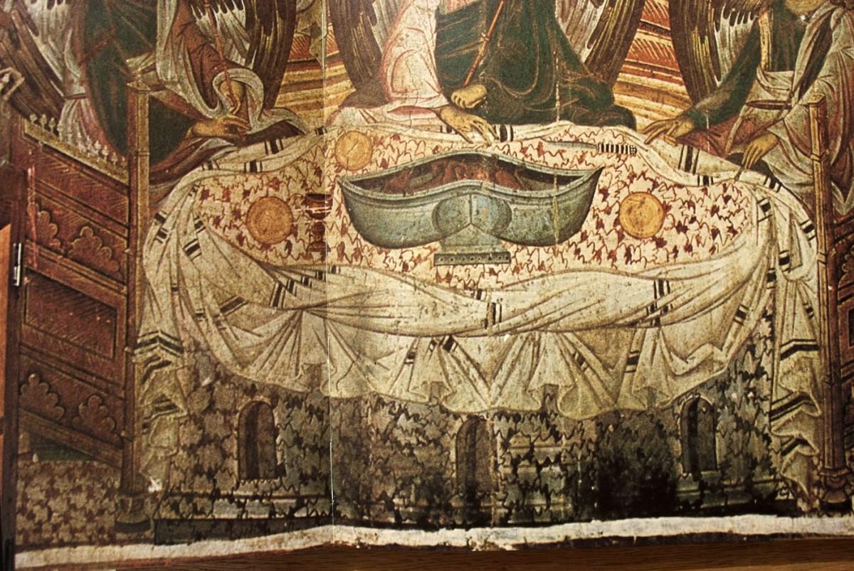 Εικ. 5. «Φιλοξενία του Αβραάμ»: λεπτομέρεια τοιχογραφίας όπου διακρίνεται ελλειψοειδές τραπέζι επενδεδυμένο με μενσάλιο με πλούσια πτύχωση (τοιχογραφία μονής Χιλανδαρίου), Bogdanovic/Djuric/Medacovic (1978), σ. 100-101.