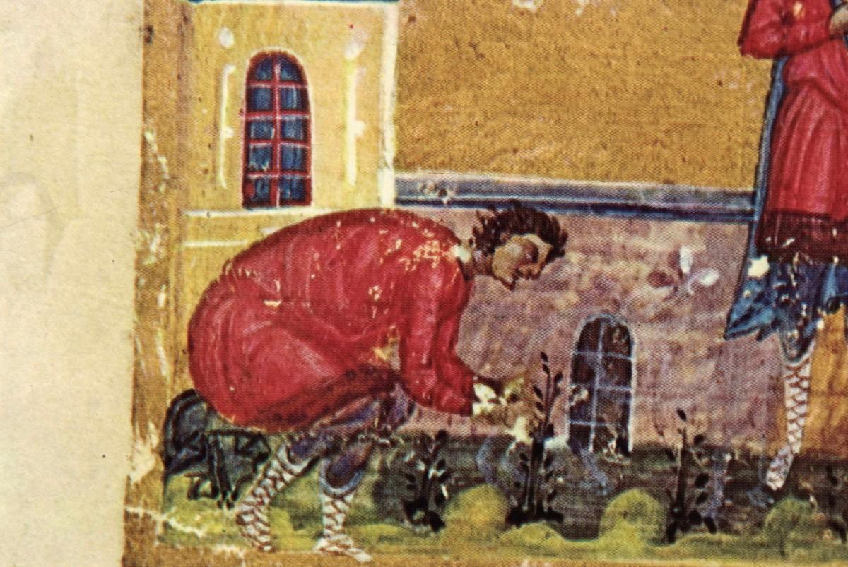 Εικ. 8. «Άγιος Μάμας σκυμμένος φροντίζει κάποιο φυτό» (μικρογραφία), «Οι Θησαυροί του Αγίου Όρους», τόμος Α΄, σ. 105, εικ. 107.