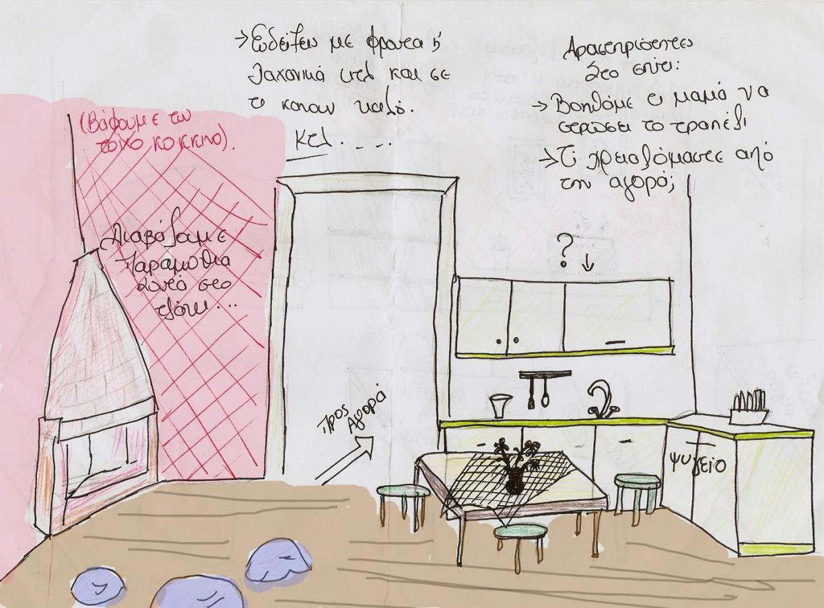 Εικ. 3. Μόνιμο έκθεμα «Η Αγορά» στο Παιδικό Μουσείο (σκίτσο φοιτήτριας).