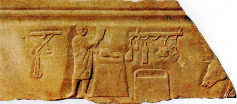 Εικ. 4. Κρεοπώλης. Ανάγλυφο από την Όστια (Πινγιάτογλου 2010, σ. 42).