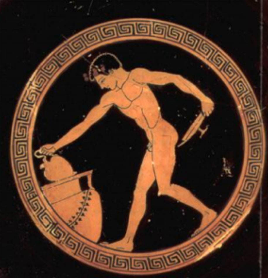 Εικ. 5. Νεαρός που σερβίρει κρασί από κρατήρα. Αττική ερυθρόμορφη κύλικα, Μουσείο του Λούβρου (Royer/Salles/Trassard 2005, σ. 70).