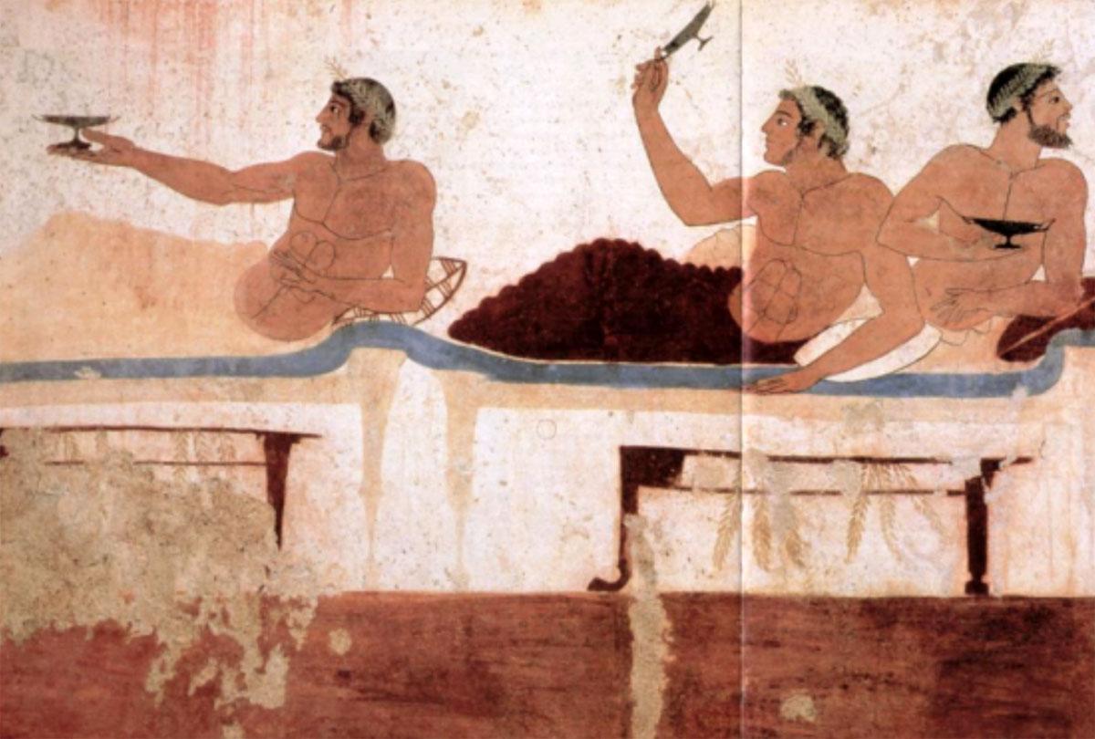 Εικ. 6. Σκηνή συμποσίου. Τοιχογραφία από τον τάφο του βουτηχτή, Ποσειδώνιο, Ιταλία (Royer/Salles/Trassard 2005, σ. 60-61).
