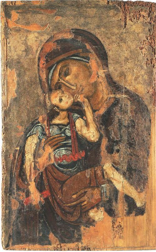Αμφιπρόσωπη εικόνα με την Παναγία Γλυκοφιλούσα και Σταυρό. Αθήνα, Βυζαντινό και Χριστιανικό Μουσείο. Θεσσαλονίκη, 12ος αιώνας.