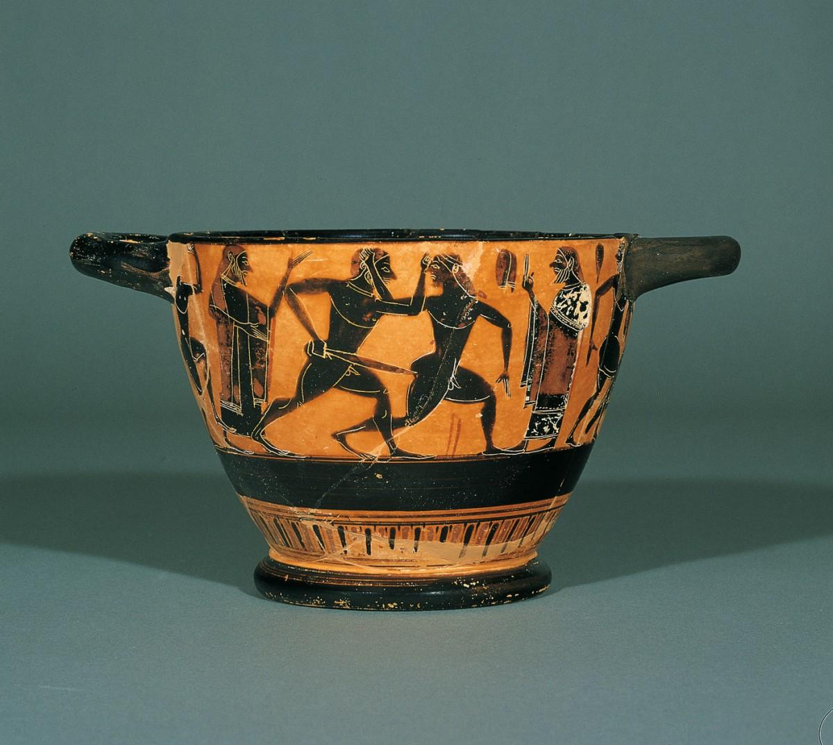 Μελανόμορφος σκύφος, έργο του Αθηναίου ζωγράφου που φέρει το συμβατικό όνομα «Επιτηδευμένος». Γύρω στα 540 π.Χ. Μουσείο Μπενάκη.