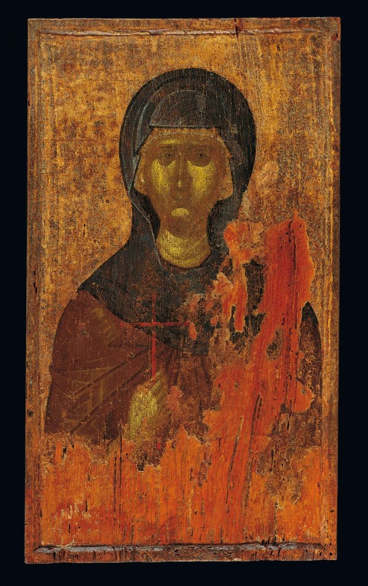 Εικόνα της Αγίας Παρασκευής πάνω σε φθαρμένο σήμερα φύλλο ασημιού. Πιθανόν καλλιτεχνικού κέντρου της Μακεδονίας, πρώτο μισό του 14ου αι. Μουσείο Μπενάκη, ΓΕ 30261.