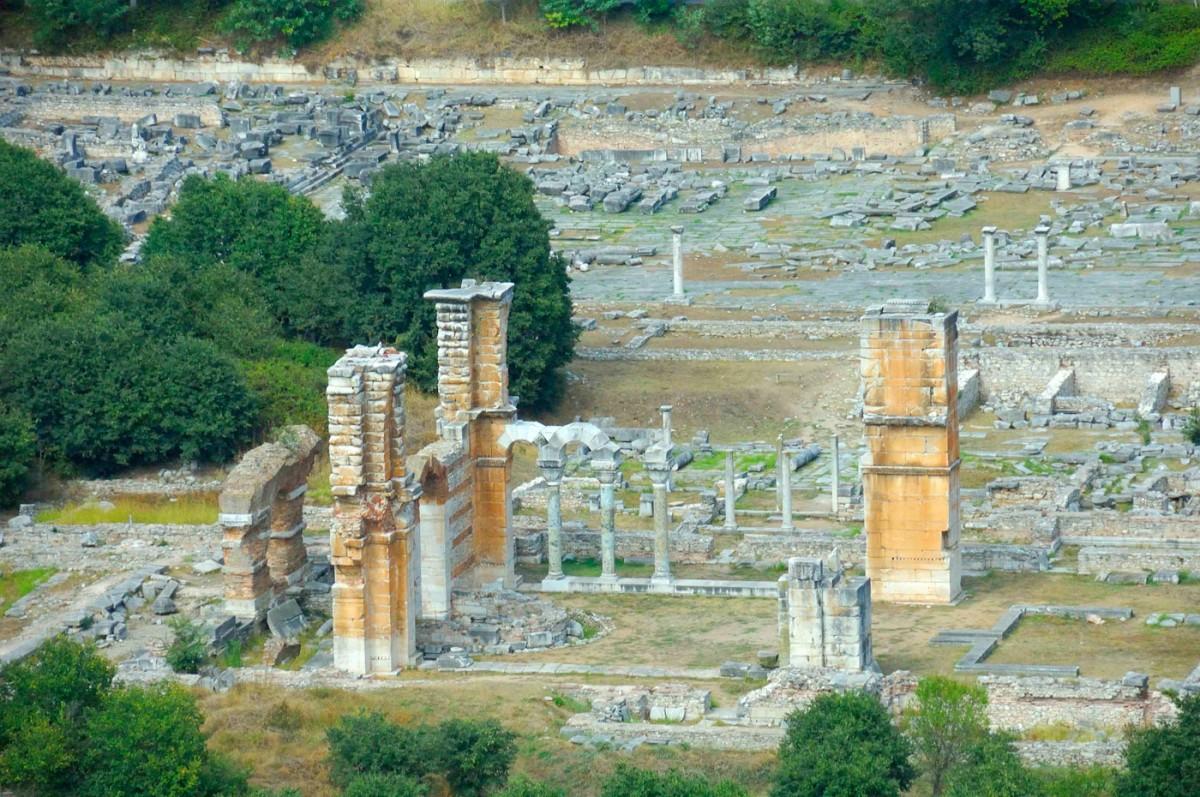Άποψη του αρχαιολογικού χώρου των Φιλίππων (φωτ. Δήμος Καβάλας).