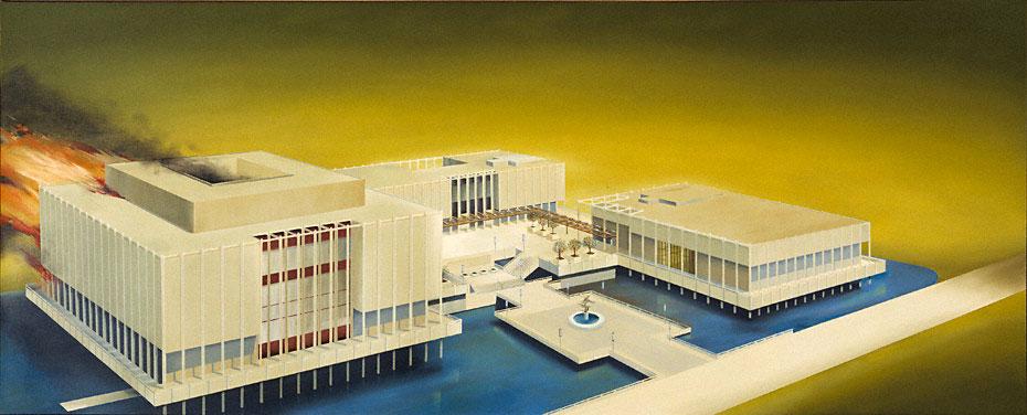 Εικ. 5. Ed Ruscha, The Los Angeles County Museum on Fire, 1965-68. © Ed Ruscha.