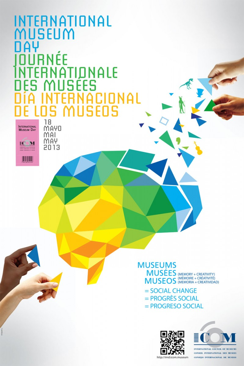 Εικ. 3. «Μνήμη+Δημιουργικότητα=Κοινωνική Αλλαγή». Το εύγλωττο μήνυμα του εορτασμού της Διεθνούς Ημέρας Μουσείων 2013 για τον σύγχρονο ρόλο και τις προκλήσεις των μουσείων (Πηγή, Διεθνές Συμβούλιο Μουσείων, Αρχείο Διεθνούς Ημέρας Μουσείων, http://icom.museum).