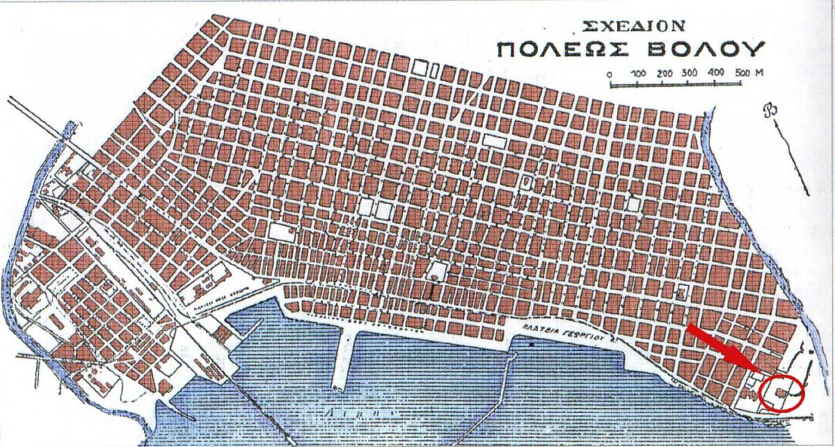 Εικ. 20. Το σχέδιο επέκτασης της πόλης του Βόλου και η θέση του Αρχαιολογικού Μουσείου, 1929.