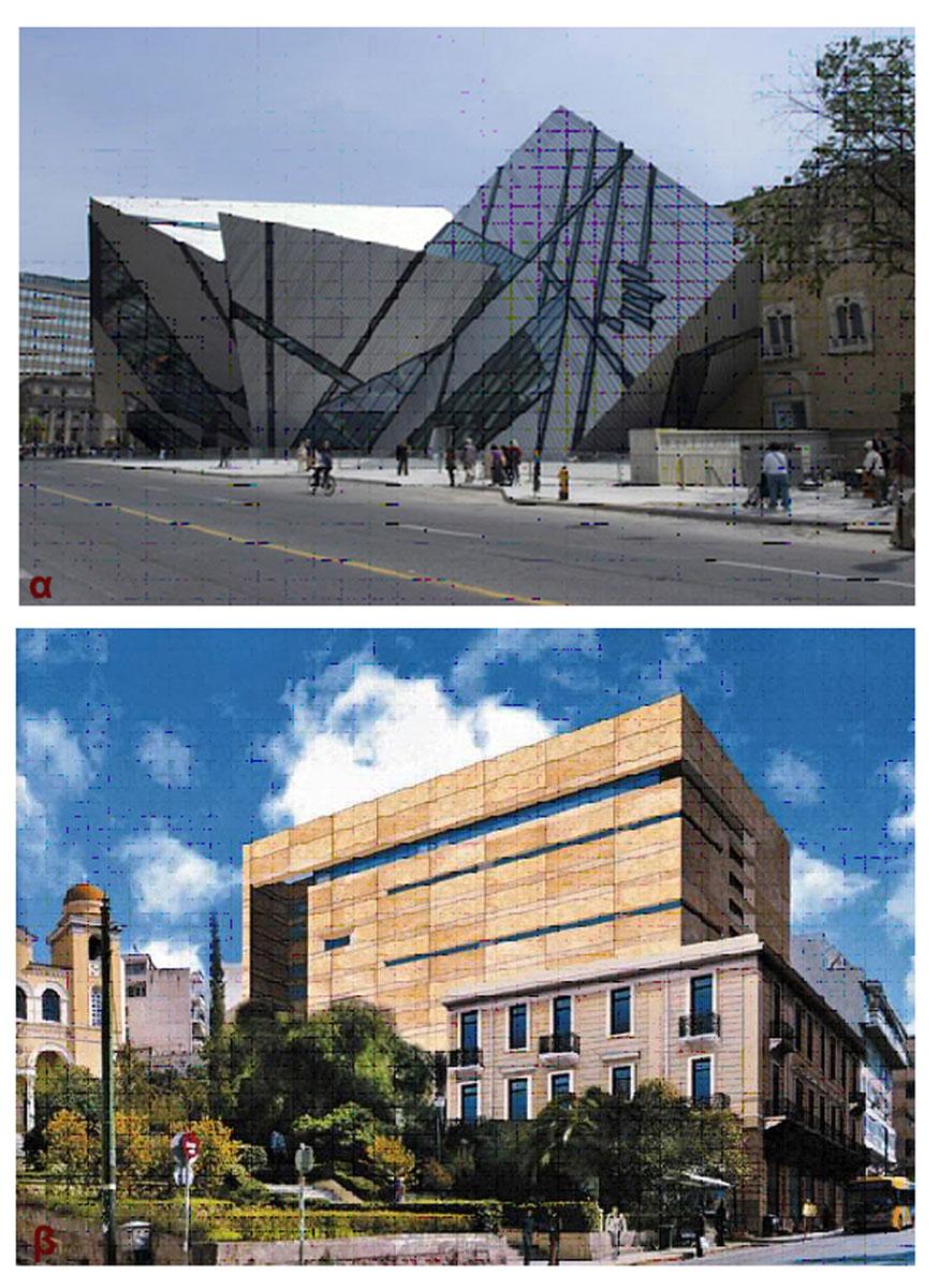 Εικ. 3α. Royal Ontario Museum, Καναδάς. Επέκταση από τον αρχιτέκτονα Daniel Libeskind (2007), β. Μουσείο Μοντέρνας Τέχνης Iδρύματος Γουλανδρή, Αθήνα. Πρόταση επέκτασης με την προσθήκη τριών ορόφων πάνω στο τριώροφο νεοκλασικό κτίριο (1920) από τον αρχιτέκτονα Ιωάννη Βικέλα (2011).