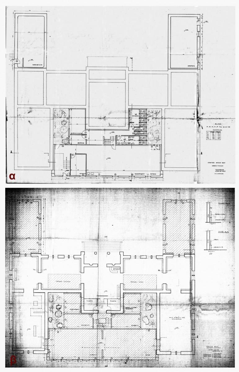 Eικ. 34. Μελέτη επέκτασης στη βόρεια και τη νότια πλευρά του κτιρίου, 1975 (σχ. Γ. Σολομωνίδη και Δ. Τριανταφυλλίδη): α. Κάτοψη υπογείου, β. Κάτοψη ισογείου (υπάρχουσα κατάσταση και πρόταση επέκτασης).
