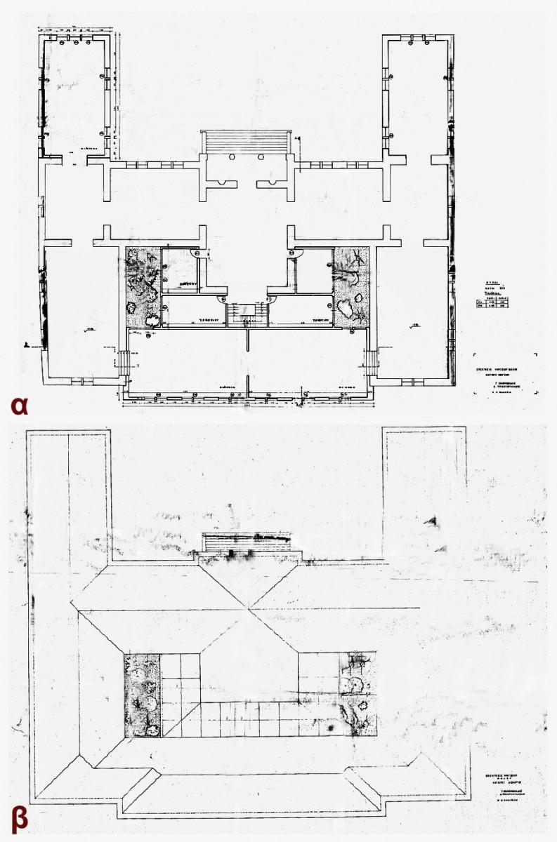 Εικ. 35. Μελέτη επέκτασης στη βόρεια και τη νότια πλευρά του κτιρίου, 1975 (σχ. Γ. Σολομωνίδη και Δ. Τριανταφυλλίδη): α. Κάτοψη ισογείου, β. Κάτοψη δώματος-στέγης.