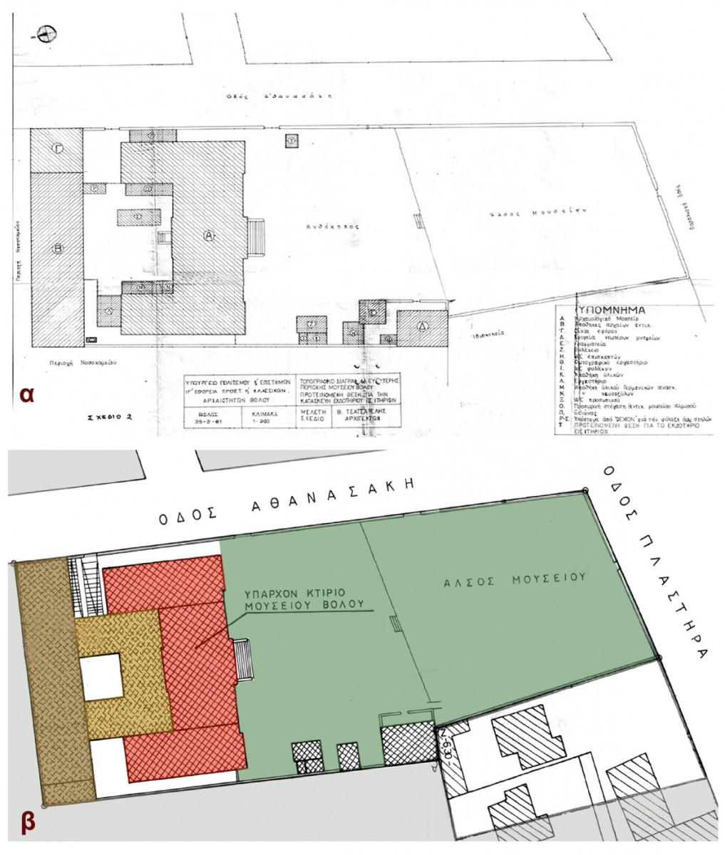 Εικ. 37. Τοπογραφικό διάγραμμα του περιβάλλοντος χώρου του Μουσείου Βόλου: α. 1981, β. 1994.