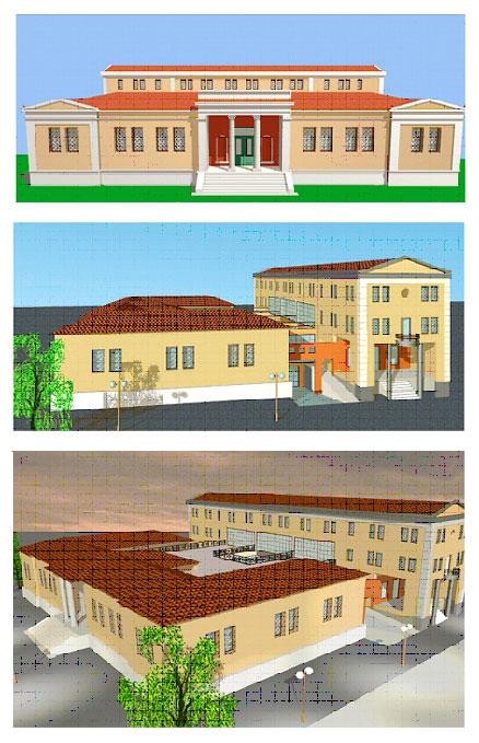 Εικ. 38. Οριστική μελέτη επέκτασης του Μουσείου Βόλου στη βόρεια πλευρά του κτιρίου (αξονομετρικά), Μάιος 1998 (σχ.: Τεχνική Υπηρεσία Δήμου Βόλου).