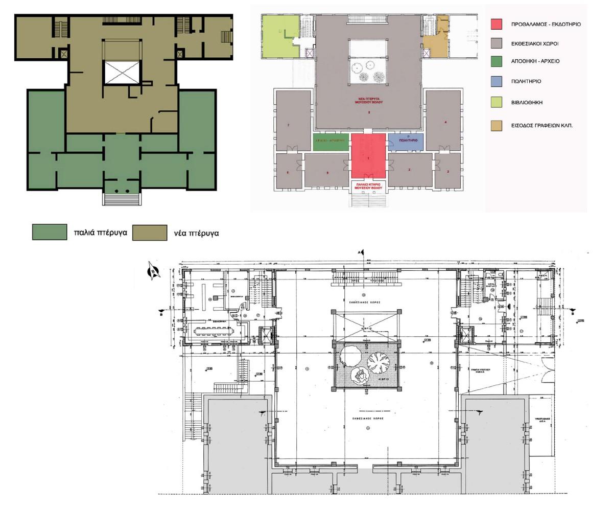 Εικ. 39. Μελέτη εφαρμογής της επέκτασης του Μουσείου Βόλου στη βόρεια πλευρά του κτιρίου (κατόψεις ισογείου και χρήσεις των χώρων), Ιούνιος 1998 (αρχιτέκτονες: Τ. Βλιώρα και Κ. Αδαμάκης, σχέδια: Τεχνική Υπηρεσία Δήμου Βόλου).