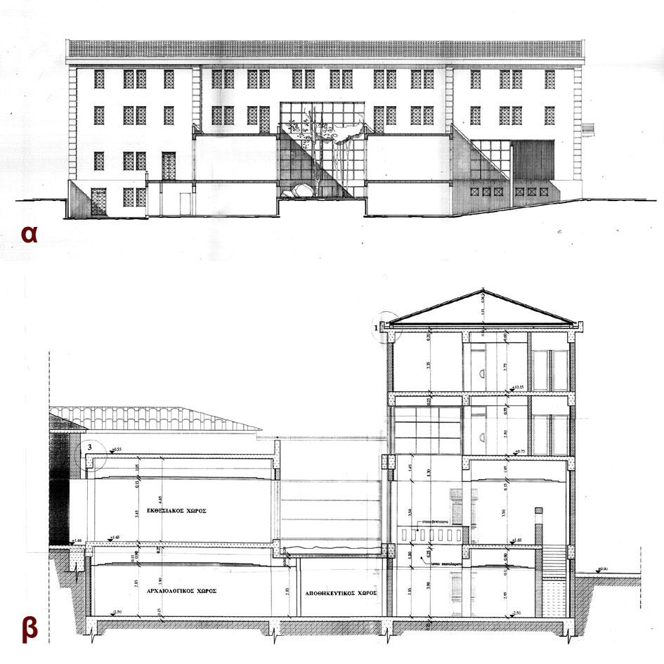 Εικ. 41. Μελέτη εφαρμογής της επέκτασης του Μουσείου Βόλου στη βόρεια πλευρά του κτιρίου, Ιούνιος 1998 (αρχιτέκτονες: Τ. Βλιώρα και Κ. Αδαμάκης, σχέδια: Τεχνική Υπηρεσία Δήμου Βόλου): α. Εγκάρσια τομή, β. Κατά μήκος τομή.