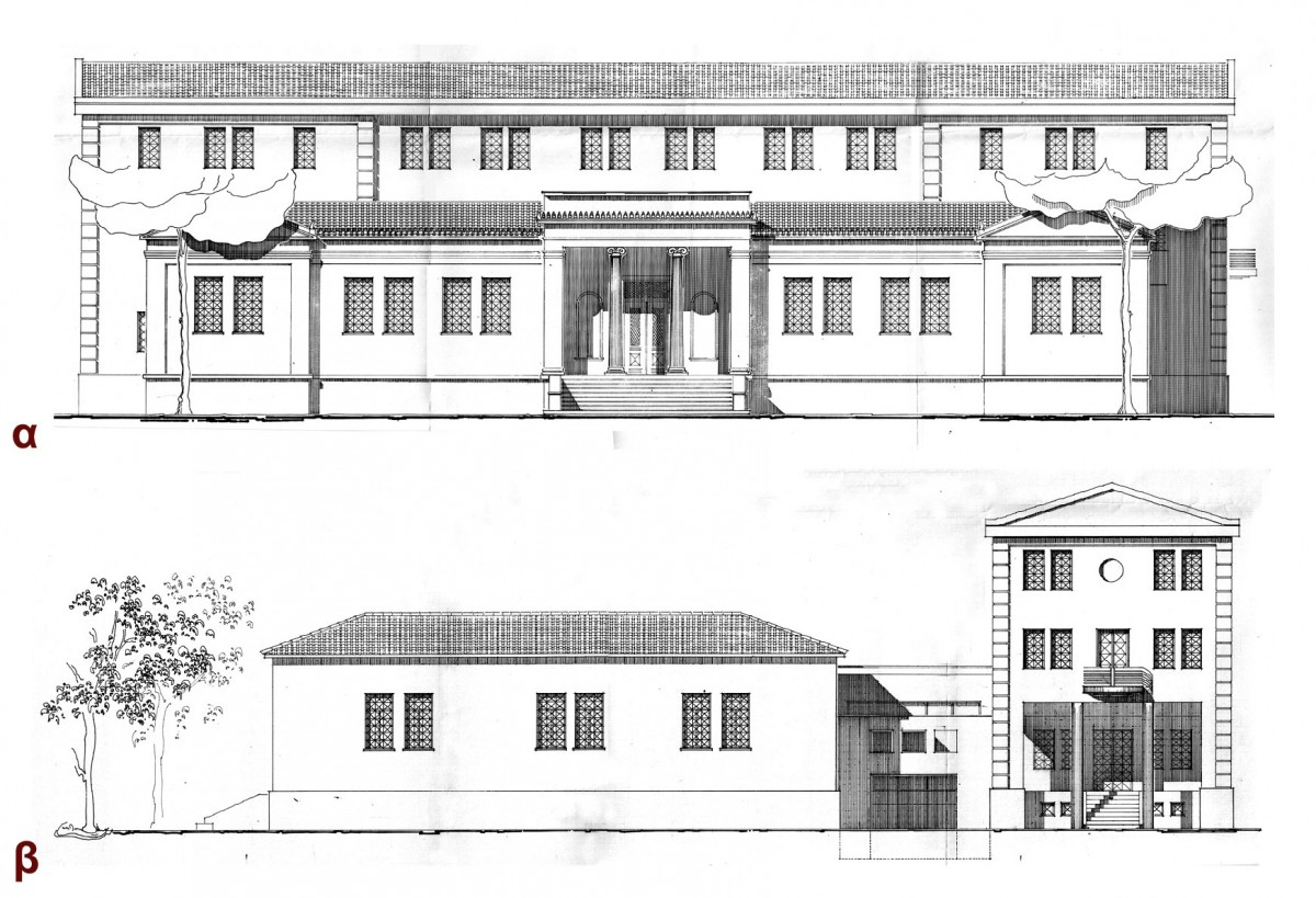 Εικ. 42. Μελέτη εφαρμογής της επέκτασης του Μουσείου Βόλου στη βόρεια πλευρά του κτιρίου, Ιούνιος 1998 (αρχιτέκτονες: Τ. Βλιώρα και Κ. Αδαμάκης, σχέδια: Τεχνική Υπηρεσία Δήμου Βόλου): α. Νότια όψη, β. Ανατολική όψη.