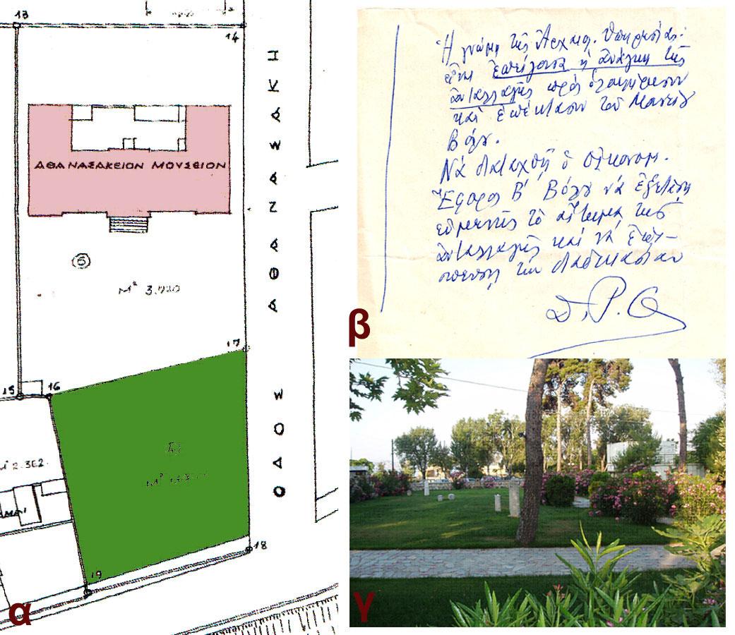 Εικ. 8α. Τοπογραφικό διάγραμμα του περιβάλλοντος χώρου με τον κήπο του Μουσείου, 1948, β. Χειρόγραφο αίτημα του Δ.Ρ. Θεοχάρη για ανταλλαγή έκτασης προκειμένου να αποκτήσει έκταση το Μουσείο Βόλου, γ. Ο κήπος του Μουσείου Βόλου, 2011.