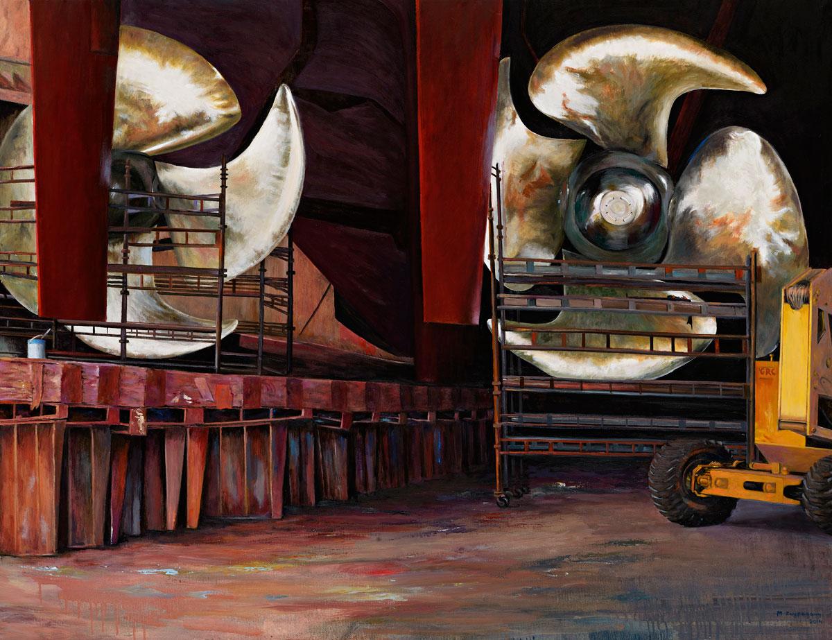 Μαρίνα Ζωγραφάκη, «Προπέλες», 2014, λάδι σε καμβά, 100x130 εκ.
