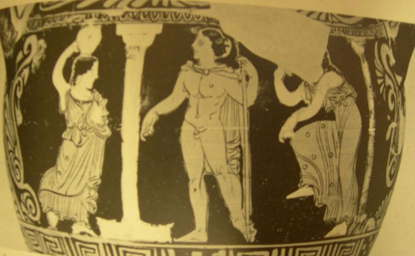 Εικ. 1. Ερυθρόμορφος ετρουσκικός κιονωτός κρατήρας του πρώιμου 4ου αιώνα π.Χ. Βερολίνο, Staatl. Mus. 30042 (Φωτ.: LIMC III, λ. «Elektra», εικ. 66).