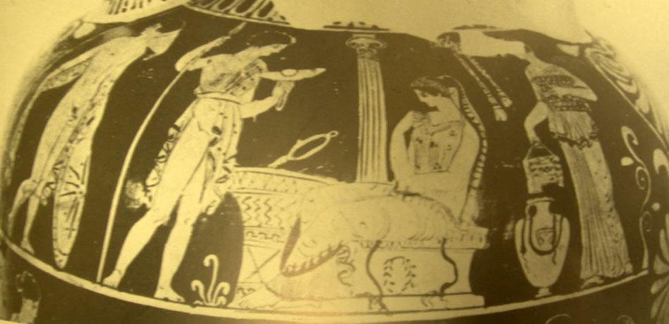 Εικ. 2. Ερυθρόμορφος απουλικός παναθηναϊκός αμφορέας του 400 π.Χ., του «Ζωγράφου του Σισύφου». Gravina, Τάρας, Mus. Naz. (Φωτ.: LIMC III, λ. «Elektra», εικ. 2).