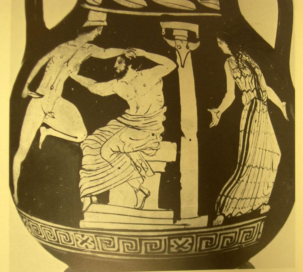 Εικ. 6:  Ερυθρόμορφη λευκανική πελίκη του πρώιμου 4ου αιώνα π.Χ., η οποία αποδίδεται στον «Ζωγράφο του Vaste». Logie Coll., University of Canterbury, Christchurch (Φωτ.: LIMC I, λ. «Aigisthos», εικ. 15).