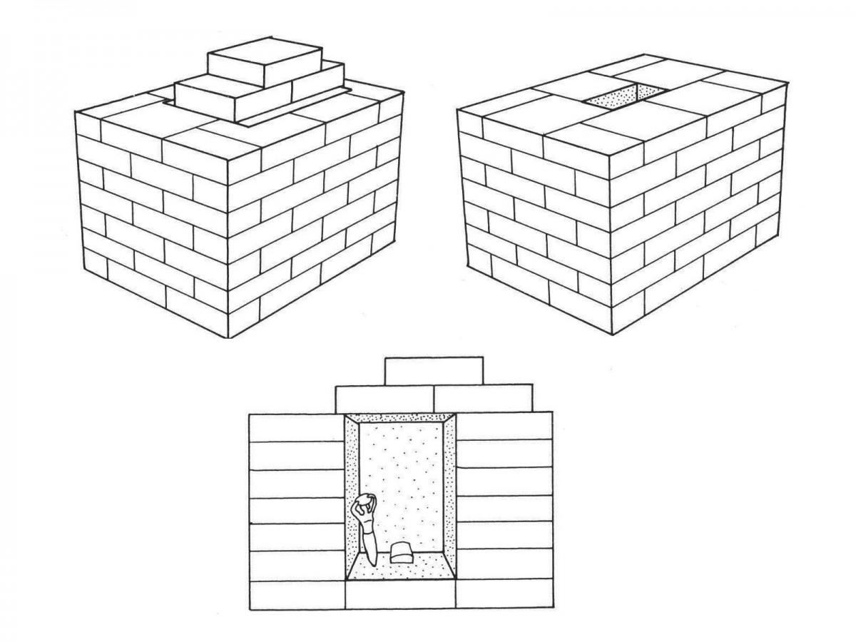 Εικ. 2. Σχεδιαστική αναπαράσταση κτιστών μεσοποταμιακών αποθετών θεμελίωσης, σε όψη και τομή (Ellis 1968, σ. 21).